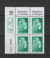 France 2020 Marianne Engagée Surchargée Bloc De 4 Coin Sup Gauche ** MNH - 2018-... Marianne L'Engagée