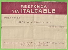 História Postal - Filatelia - Cabograma Via Italcable - Radio Telegrafic - Cablegram - Philately - Roma Italia Portugal - Covers & Documents