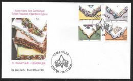 Cyprus (Turkish Posts) 2000 Traditional Handicrafts - Kerchiefs Illustrated FDC - Storia Postale
