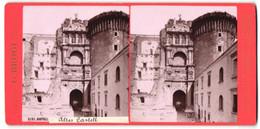 Stereo-Foto G. Brogi, Firenze, Ansicht Napoli, Altes Castell - Stereoscopio