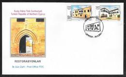 Cyprus (Turkish Posts) 2001 Restored Buildings Illustrated FDC - Storia Postale
