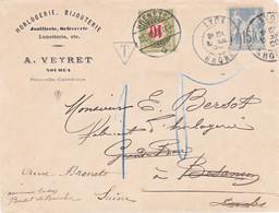 Env En-tête Horlogerie Veyret Noumé Partie De Lyon Obl Daguin 1900 Pour Besançon Réexpédiée Les Brenets Suisse Taxe 10c - 1877-1920: Periodo Semi Moderno