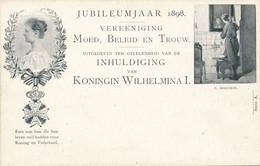 Nederland - 1898 - 2,5 Cent Cijfer, Jubileum Briefkaart P33a - C. Bisschop: Man Voor Spiegel - Ongebruikt - Ganzsachen