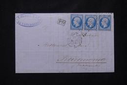 FRANCE - Lettre De Tain Pour Les Pays Bas , Affranchissement Napoléon 20ct En Bande De 3, PC 3313  - L 77450 - 1849-1876: Periodo Clásico