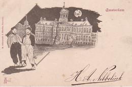 483212Amsterdam, Paleis Bij Avond. Rond 1900. (linkerkant Een Vouw) - Amsterdam