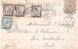 CP Illustrée Marché Place Labourée Obl Besançon Gare 4 Aout 1903 1c Blanc Taxée 8c Dont Bande 1c Millésime 3 Obl Berck - Postage Due Covers