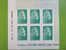 Timbre France YT 1598 AA - Coin Daté - Marianne D'Yseult Digan - L'engagée - Autocollant - Lettre Verte - Neuf - 2018 - 2010-....