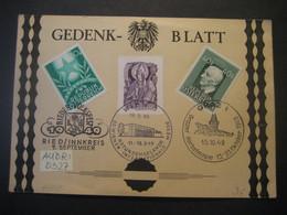 Österreich 1949- Gedenkblatt Mit Sonderstempel Ried/Innkreis, Wien Und Graz - 1945-60 Covers