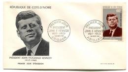 RC 19049 COTE D'IVOIRE KENNEDY POSTE AERIENNE 1964 FDC 1er JOUR - TB - Ivoorkust (1960-...)