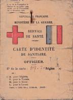 MINISTÈRE DE LA GUERRE CARTE IDENTITÉ DE SANITAIRE OFFICIER 1939 WWII - Historical Documents