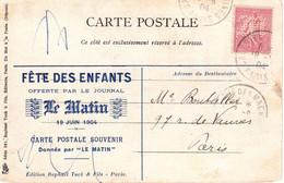 CP Ill Repiquée Le Matin 10c Semeuse Lignée Perforée M Stylisé Obl Temporaire Galerie Des Machines Paris 19 6 04 - 1877-1920: Periodo Semi Moderno
