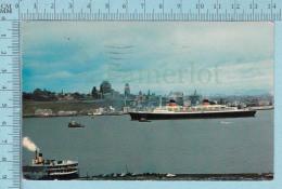 CPM Voyagé 1968 -Croisier Devant Quebec, France Quebec Te Souhaite La Bienvenue  - Timbre CND 4¢ - Passagiersschepen