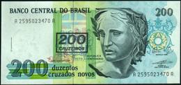 ♛ BRAZIL - 200 Cruzados / Cruzeiros Nd.(1990) UNC P.225 B - Brasile