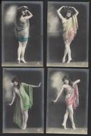 SERIE COMPLET DE 6 CARTES PHOTO ANCIENNES * JEUNE FEMME  RAVISSANTE EN DANSANT * ANNEES 1900 - 1920 - Vrouwen