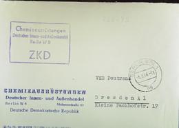 """Fern-Brf Mit ZKD-Kastenst """"Chemieausrüstungen Deutscher Innen- Und Außenhandel Berlin W8"""" 5.3.64 An VEB Deutrans Dresden - Service"""