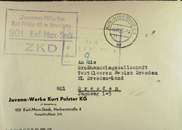 """Fern-Brf Mit ZKD-Kastenst """"Juvena-Werke Kurt Polster KG In Verwaltung 901 Karl-Marx-Stadt"""" 8.11.65 An GHG Textil Dresden - Service"""