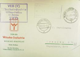 """Fern-Brf Mit ZKD-Kastenst """"VEB (K) Wäscheindustrie Wilkau-Haßlau Kr.Zwickau""""14.9.62 An GHG Textilwaren Dresden M EingSt - Service"""