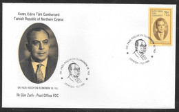 Cyprus (Turkish Posts) 1999 Dr. Fazil Kucuk Commemoration Illustrated FDC - Storia Postale