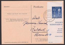 10 Pfg. Tag Der Befreiung Blockteil Auf Karte DRESDEN A28 9.4.55, DDR 459 B Vom Ersttag FDC, Portogenau - Cartas