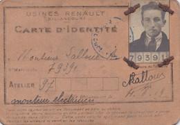 CARTE IDENTITÉ 1919 USINE RENAULT BILLANCOURT ATELIER 97 - Historical Documents