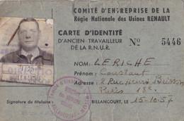 CARTE IDENTITÉ 1957 COMITÉ ENTREPRISE ANCIEN TRAVAILLEUR  USINE RENAULT BILLANCOURT VOIR VERSO - Historical Documents