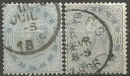 Belgique - Léopold II - N°39 Gris-perle Et 39a Gris Ardoise Obl. - 1883 Leopold II