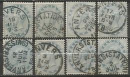 Belgique - Léopold II - N°39 Obl. ANVERS (différents Types) - 8 Timbres + Nuances De Couleur - 1883 Leopold II