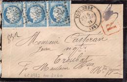 CERES N° 60 BANDE DE 3 SUR LETTRE RECOMMANDEE1875 - TOULOUSE  Pour MAULEON BAROUSSE ( Cachet Cire Verso ) - 1849-1876: Periodo Clásico