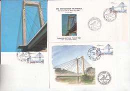 INAUGURACIÓN PUENTE DE TIRANTES, FERNANDO REIG EN ALCOY (ESPAÑA) 1987 - 2 TARJETAS Y 1 SOBRE DIFERENTES. - LIQUIDACIÓN - Puentes