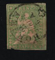 1854 Sitzende Helvetia Mi CH 17 Ib Yt CH 30 Sg CH 51 Zum CH 26 (green Thread) Gest. Used O - Gebraucht