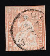 1857 Sitzende Helvetia MiCH 16 Yt CH 29 Sg CH 50 Zum CH 25  Gest. Used O - Gebraucht