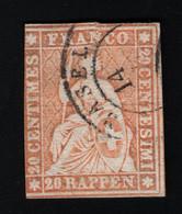 1857 Sitzende Helvetia MiCH 16 Yt CH 29 Sg CH 50 Zum CH 25 Prooved Gest. Used O - Gebraucht