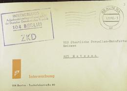 """Fern-Brf Mit ZKD-Kastenstpl """"INTERWERBUNG Außenhandelswerbegesellschaft MbH Der DDR 104 Berlin"""" 1.12.66 Nach Meißen - Service"""