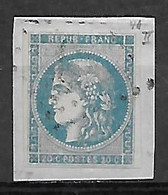 Cérès. Emission De Bordeaux - N°45B Sur Fragment - 20c Bleu - Oblitéré - TB. - 1870 Bordeaux Printing