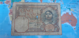 TUNISIA 5 FRANCS 1939 P 8b USED - Tusesië