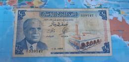 TUNISIA 1/2 DINAR 1965 P 62a USED - Tusesië
