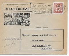 Lettre Illustrée FOY-NOTRE-DAME 1958 Bruxelles à Paris Affranchissement  2f50 Brun Léopold III Cachet Et Flamme DINANT - Cartas