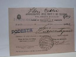 SIENA  E PROV. -- ANNULLO -TONDO -RIQUADRATO -FRAZIONALE - PIANCASTAGNAIO -- 28-11-42 - Storia Postale