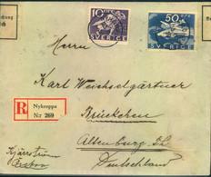 1936,R-Brief Ab NYKROPPA Mit 50 Öre Bromma Und 10 Öre Zusatzmit Deutscher Devisenzensur Gera - Sin Clasificación