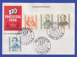 Bund Wohlfahrt 1955 Mi.-Nr. 222-25 Satz Auf Postkarte SPD-Parteitag München 1956 - Unclassified