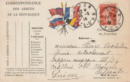 13593  De DIJON (CÔTE D'OR) Pour La SUISSE - Le 18/9/14 - Oorlog 1914-18