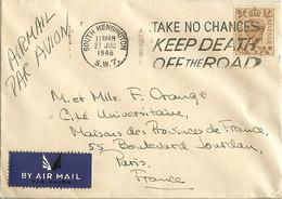 GRANDE BRETAGNE SOUTH KENSINGTON à PARIS AIR MAIL 27 JUILLET 1946 HOTEL - Briefe U. Dokumente