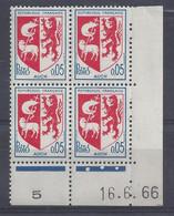 BLASON AUCH N° 1468 - Bloc De 4 COIN DATE - NEUF SANS CHARNIERE - 16/6/66 3 Points - 1960-1969