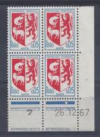 BLASON AUCH N° 1468 - Bloc De 4 COIN DATE - NEUF SANS CHARNIERE - 26/12/67 1 Point - 1960-1969