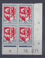 BLASON AUCH N° 1468 - Bloc De 4 COIN DATE - NEUF SANS CHARNIERE - 16/2/71 3 Points - 1960-1969