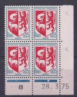 BLASON AUCH N° 1468 - Bloc De 4 COIN DATE - NEUF SANS CHARNIERE - 28/3/75 1 Point - 1960-1969