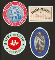 4 X Etiquetas / Rotulo De HOTEL / Pensão BRAGA / AVEIRO / CASTELO BRANCO. SET 4 Vintage HOTEL Luggage Labels PORTUGAL - Hotel Labels