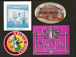 4 X Etiquetas / Rotulo De HOTEL / Pensão EVORA / SANTAREM / LEIRIA. SET Of 4 Vintage HOTEL Luggage Labels PORTUGAL - Hotel Labels