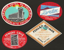 4 X Etiquetas / Rotulo De HOTEL / Pensão COIMBRA / FIGUEIRA Da FOZ. SET Of 4 Vintage HOTEL Luggage Labels PORTUGAL - Hotel Labels
