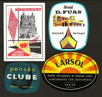 4 X Etiquetas / Rotulo De HOTEL / Pensão NAZARÉ / LEIRIA. SET Of 4 Vintage HOTEL Luggage Labels PORTUGAL - Hotel Labels